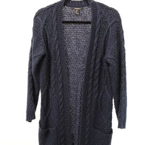 Forever 21 navy cable stitch cardigan